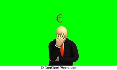 3d-man thinking about money - Animation representng 3d-man...