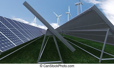 Solar panels - Animation showing solar panels against blue...