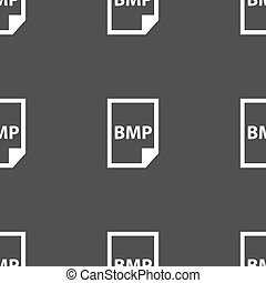 BMP Icon sign. Seamless pattern on a gray background. Vector...