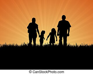 Family outside - Illustration of a Silhouette family taking...