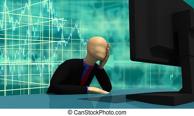 3d-man sitting in front of a screen - Animation presenting...