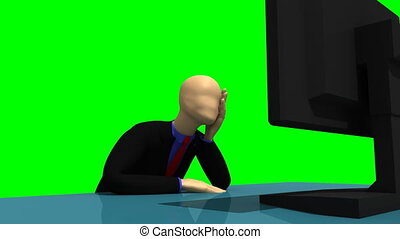 3d-man in front of a laptop