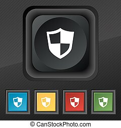 shield icon symbol. Set of five colorful, stylish buttons on black texture for your design. Vector