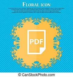 PDF Icon. icon. Floral flat design on a blue abstract...