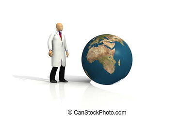 3d-doctor with a globe - Animation of a 3d-doctor with a...