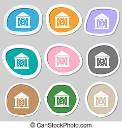 bank vector icon symbols. Multicolored paper stickers....