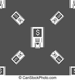 atm icon sign. Seamless pattern on a gray background. Vector