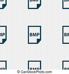 BMP Icon sign. Seamless pattern with geometric texture....