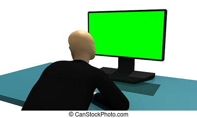 3d-man sitting in front of the PC - Computer animation...