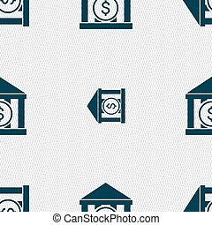 bank vector icon sign. Seamless pattern with geometric...