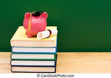 Costs of an education - Stack of blue books with a piggy...