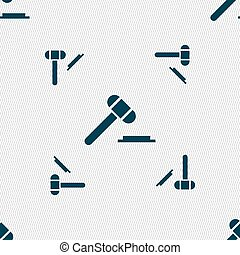 judge or auction hammer icon sign. Seamless pattern with...