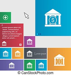 bank vector icon sign. buttons. Modern interface website...