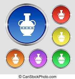 Amphora icon sign. Round symbol on bright colourful buttons....