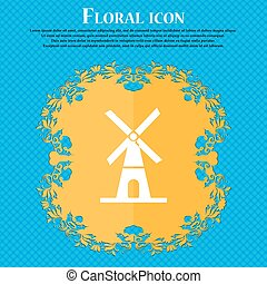 Mill icon icon. Floral flat design on a blue abstract background with place for your text. Vector