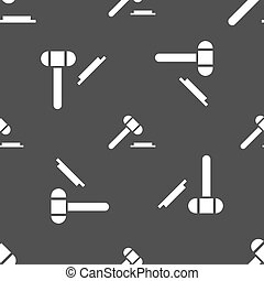judge or auction hammer icon sign. Seamless pattern on a...