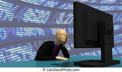 Enthusiastic 3d-man with a desktop - Animation presenting a...