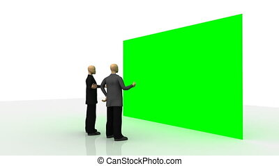 3d-men in front of a green wall