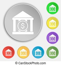 bank vector icon sign. Symbol on eight flat buttons. Vector...