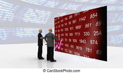3d-men in front of the green wall - Animation representing...