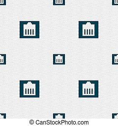 Internet cable, RJ-45 icon sign. Seamless pattern with...