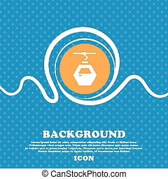 Cableway cabin icon sign. Blue and white abstract background flecked with space for text and your design. Vector
