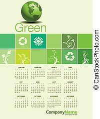 Green Environmental Calendar - 2011 stylish calendar with...