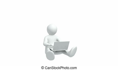 Joyful 3d-man with laptop - Animation representing a joyful...