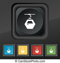 Cableway cabin icon symbol. Set of five colorful, stylish buttons on black texture for your design. Vector