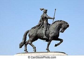 Statue of Joao I, Praca do Comercio in Lisbon, Portugal