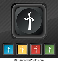 Windmill icon symbol. Set of five colorful, stylish buttons on black texture for your design. Vector