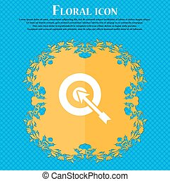 target icon icon. Floral flat design on a blue abstract...
