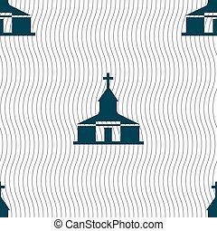 Church Icon sign. Seamless pattern with geometric texture....