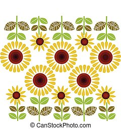 big and small sunflowers pattern, vector illustration
