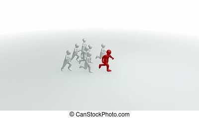 3d-men running - Animation represent a group of 3d-men...