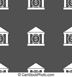 bank vector icon sign. Seamless pattern on a gray...