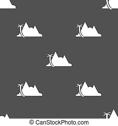 Mirage icon sign. Seamless pattern on a gray background....