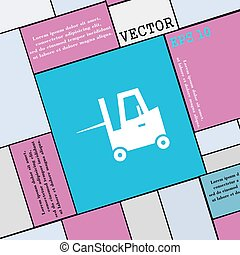 Forklift icon sign. Modern flat style for your design....