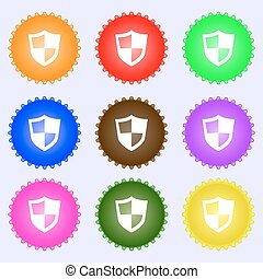 shield icon sign. Big set of colorful, diverse, high-quality buttons. Vector