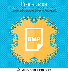 BMP Icon icon. Floral flat design on a blue abstract...