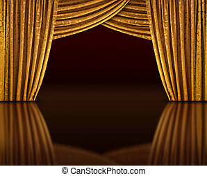 Golden stage reflect - Golden curtains of open stage...
