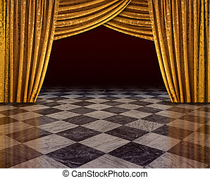 Golden curtains stage - Golden curtains of open stage...