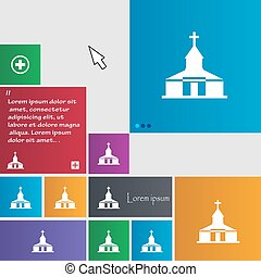 Church Icon sign. buttons. Modern interface website buttons...
