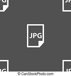 Jpg file icon sign. Seamless pattern on a gray background....