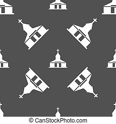Church Icon sign. Seamless pattern on a gray background....