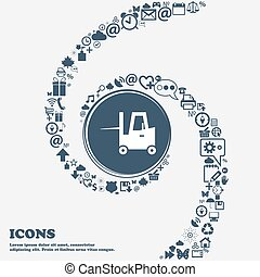 Forklift icon in the center. Around the many beautiful...
