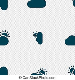 Partly Cloudy icon sign. Seamless pattern with geometric...