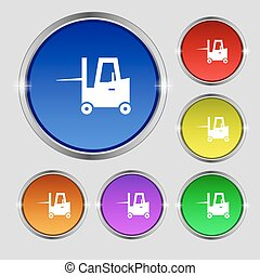 Forklift icon sign. Round symbol on bright colourful...