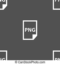 PNG Icon sign. Seamless pattern on a gray background. Vector...