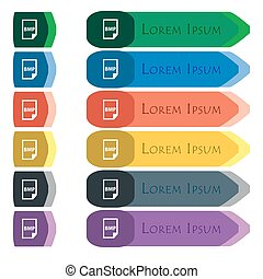 BMP Icon sign. Set of colorful, bright long buttons with...